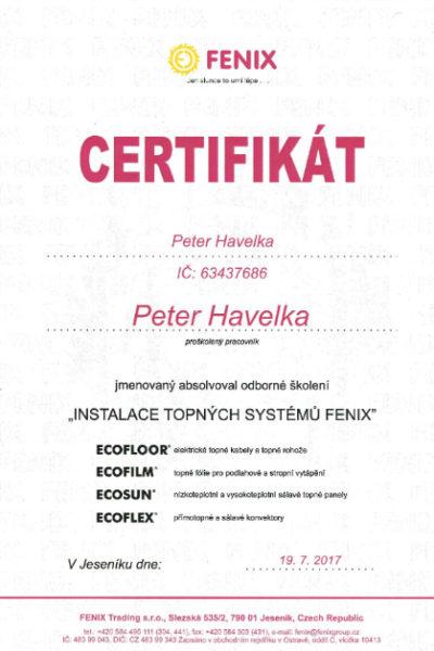 Certifikát FENIX