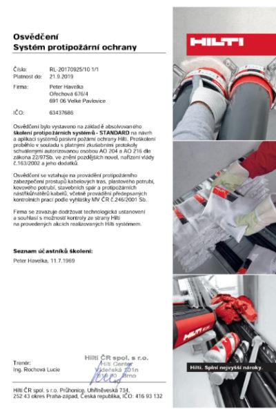 Certifikát HILTI